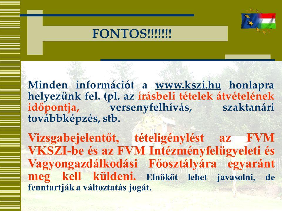 FONTOS!!!!!!.Minden információt a www.kszi.hu honlapra helyezünk fel.