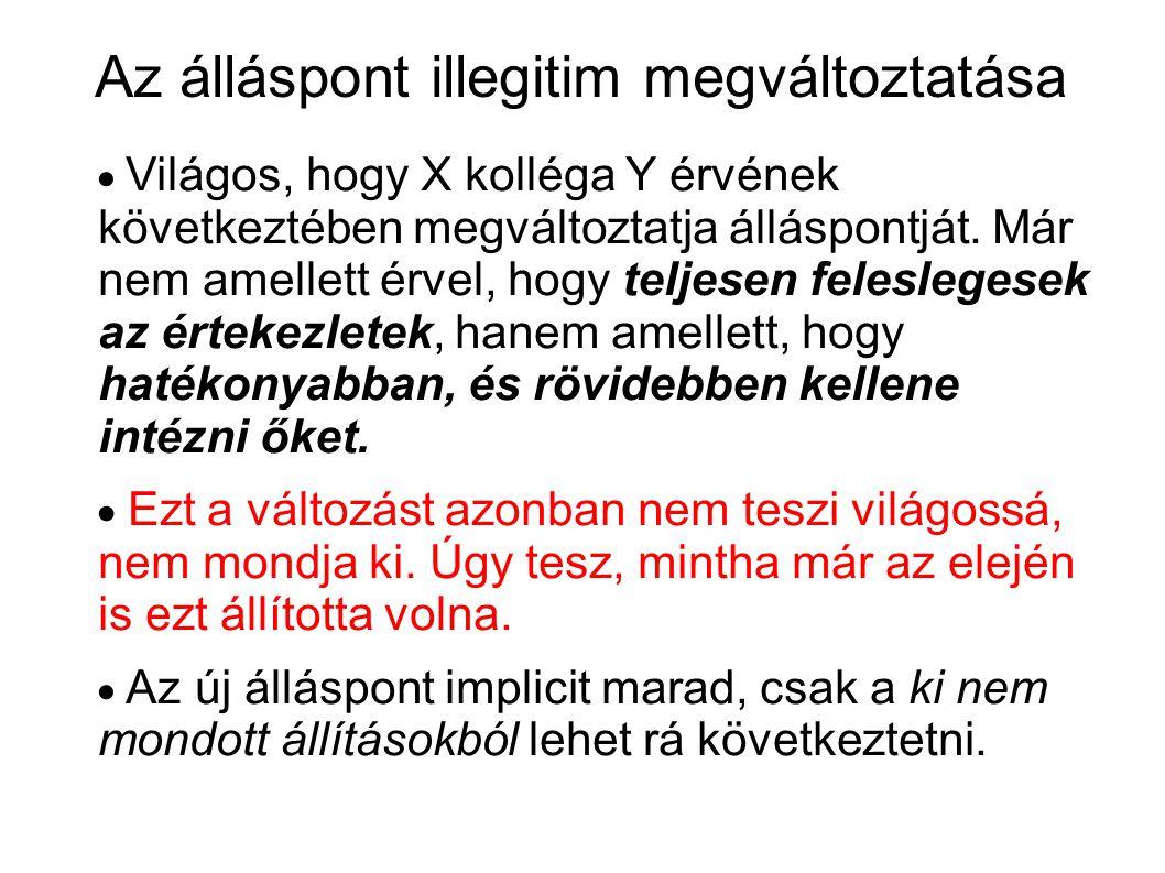 Az álláspont illegitim megváltoztatása  Világos, hogy X kolléga Y érvének következtében megváltoztatja álláspontját.