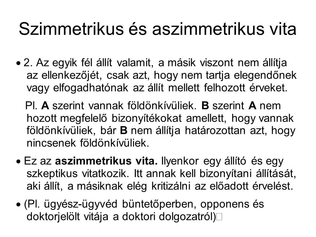 Szimmetrikus és aszimmetrikus vita  2.