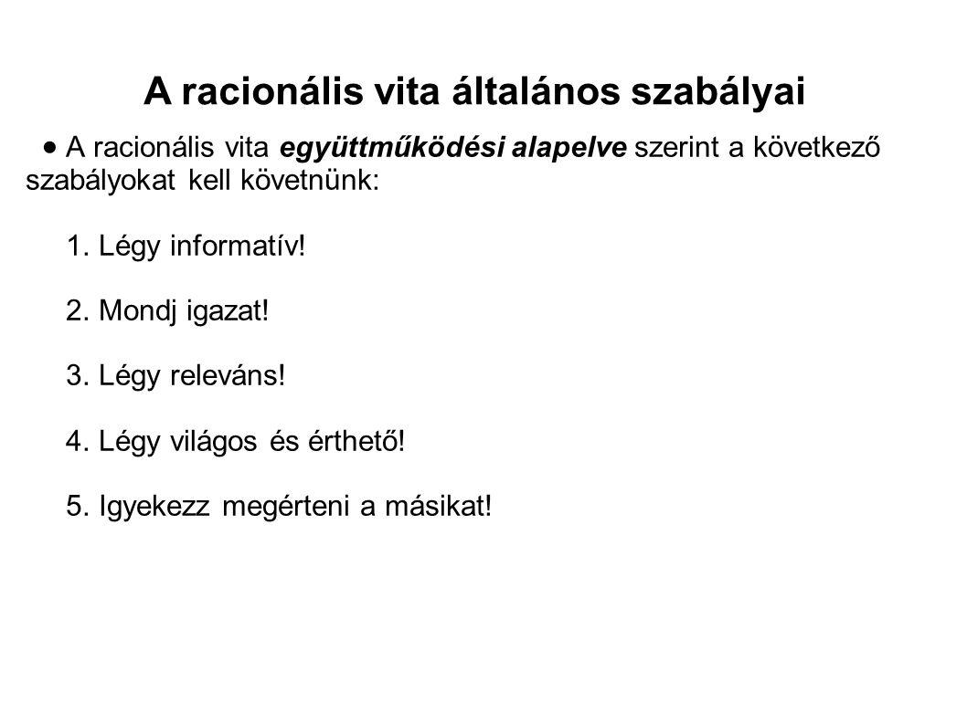 A racionális vita általános szabályai  1.Légy informatív.