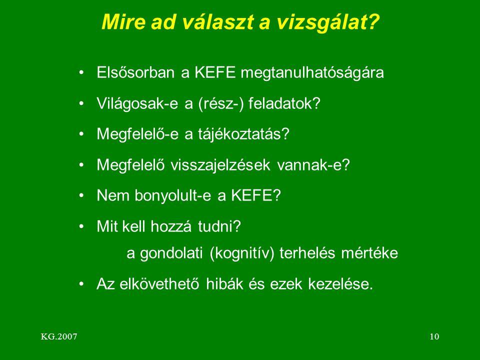KG.200710 Mire ad választ a vizsgálat? Elsősorban a KEFE megtanulhatóságára Világosak-e a (rész-) feladatok? Megfelelő-e a tájékoztatás? Megfelelő vis
