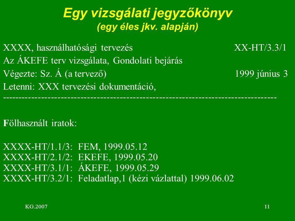 KG.200711 Egy vizsgálati jegyzőkönyv (egy éles jkv. alapján) XXXX, használhatósági tervezés XX-HT/3.3/1 Az ÁKEFE terv vizsgálata, Gondolati bejárás Vé