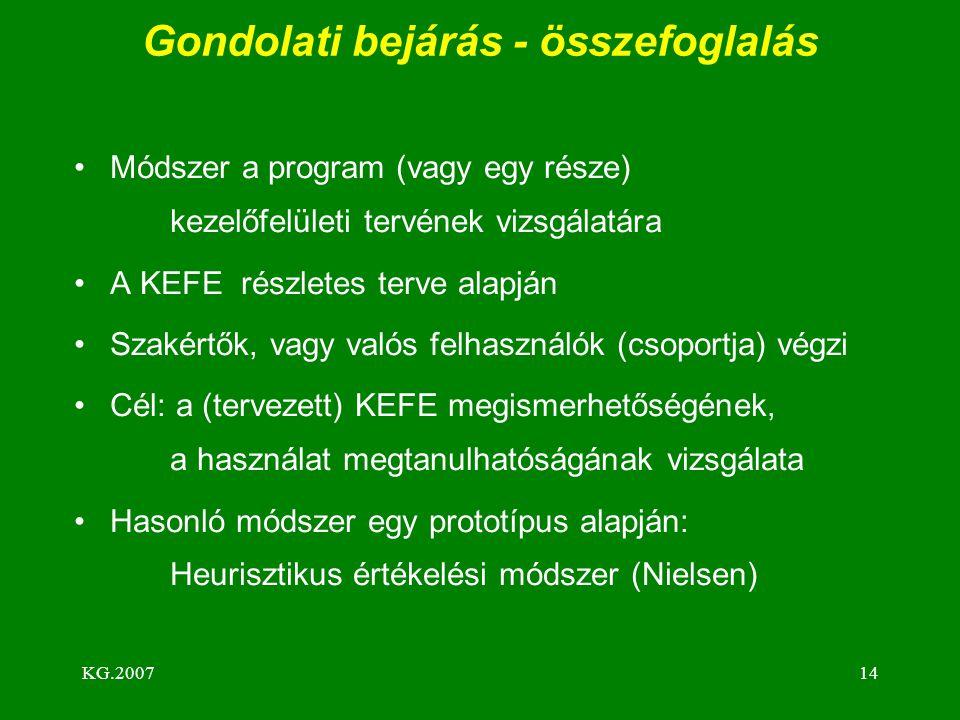 KG.200714 Gondolati bejárás - összefoglalás Módszer a program (vagy egy része) kezelőfelületi tervének vizsgálatára A KEFE részletes terve alapján Sza