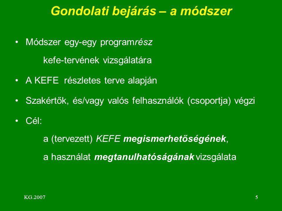 KG.20075 Gondolati bejárás – a módszer Módszer egy-egy programrész kefe-tervének vizsgálatára A KEFE részletes terve alapján Szakértők, és/vagy valós felhasználók (csoportja) végzi Cél: a (tervezett) KEFE megismerhetőségének, a használat megtanulhatóságának vizsgálata
