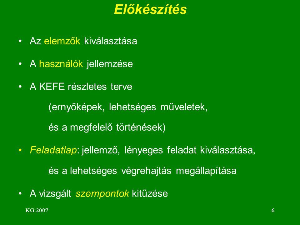KG.20076 Előkészítés Az elemzők kiválasztása A használók jellemzése A KEFE részletes terve (ernyőképek, lehetséges műveletek, és a megfelelő történések) Feladatlap: jellemző, lényeges feladat kiválasztása, és a lehetséges végrehajtás megállapítása A vizsgált szempontok kitűzése