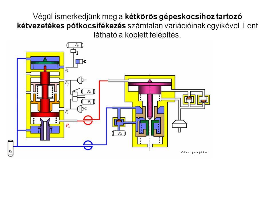 Végül ismerkedjünk meg a kétkörös gépeskocsihoz tartozó kétvezetékes pótkocsifékezés számtalan variációinak egyikével. Lent látható a koplett felépíté