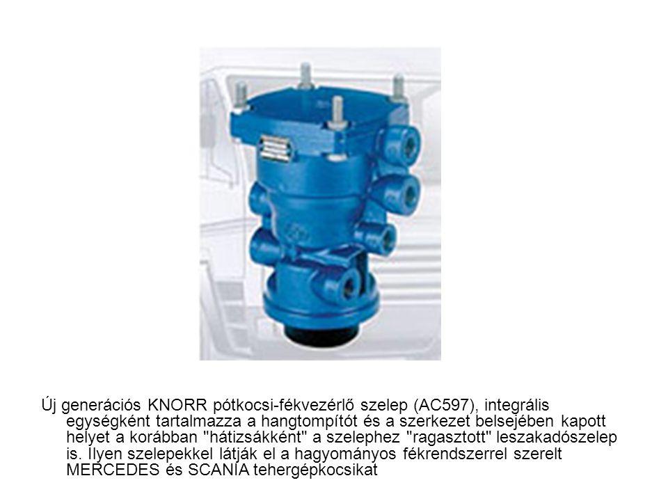 Új generációs KNORR pótkocsi-fékvezérlő szelep (AC597), integrális egységként tartalmazza a hangtompítót és a szerkezet belsejében kapott helyet a kor