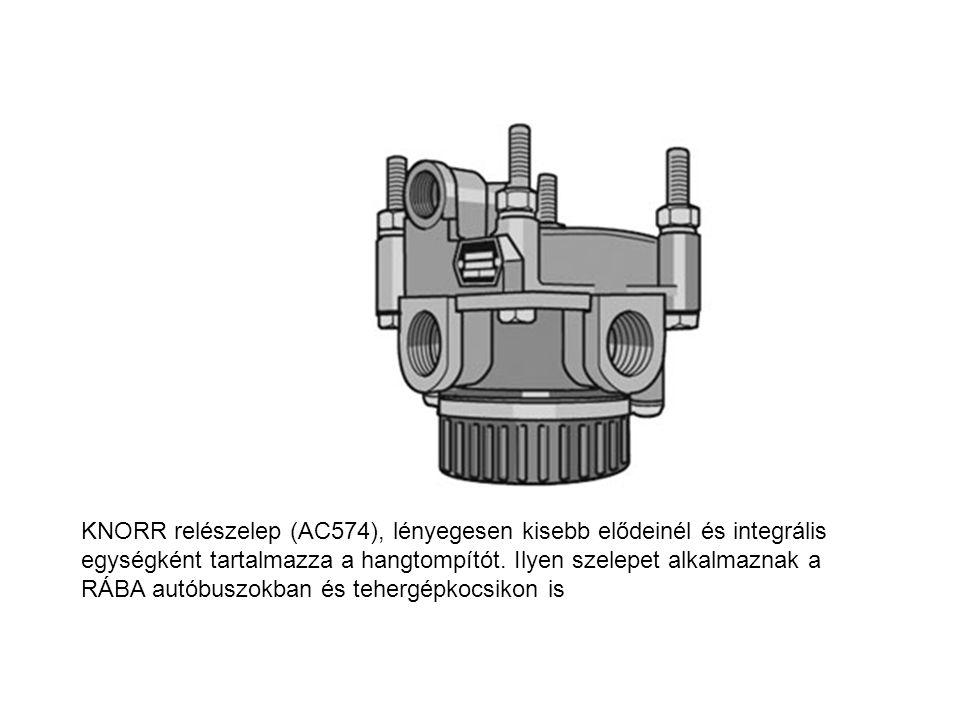 KNORR relészelep (AC574), lényegesen kisebb elődeinél és integrális egységként tartalmazza a hangtompítót. Ilyen szelepet alkalmaznak a RÁBA autóbuszo