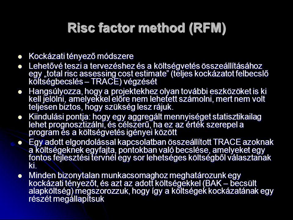 """Risc factor method (RFM) Kockázati tényező módszere Kockázati tényező módszere Lehetővé teszi a tervezéshez és a költségvetés összeállításához egy """"total risc assessing cost estimate (teljes kockázatot felbecslő költségbecslés – TRACE) végzését Lehetővé teszi a tervezéshez és a költségvetés összeállításához egy """"total risc assessing cost estimate (teljes kockázatot felbecslő költségbecslés – TRACE) végzését Hangsúlyozza, hogy a projektekhez olyan további eszközöket is ki kell jelölni, amelyekkel előre nem lehetett számolni, mert nem volt teljesen biztos, hogy szükség lesz rájuk."""