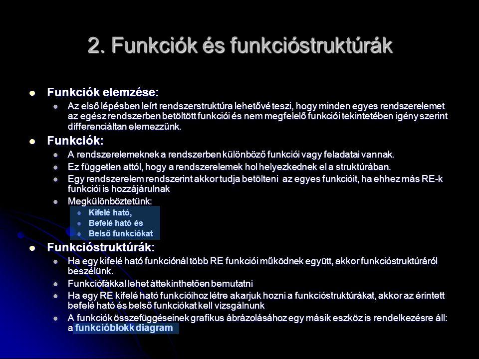 2. Funkciók és funkcióstruktúrák Funkciók elemzése: Funkciók elemzése: Az első lépésben leírt rendszerstruktúra lehetővé teszi, hogy minden egyes rend