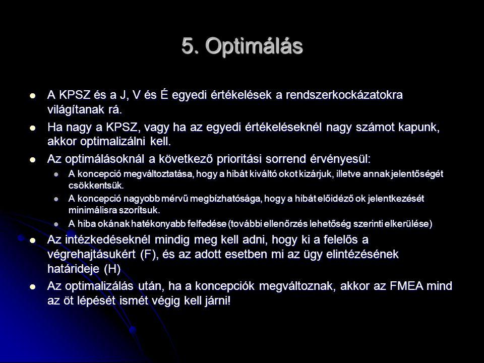 5. Optimálás A KPSZ és a J, V és É egyedi értékelések a rendszerkockázatokra világítanak rá. A KPSZ és a J, V és É egyedi értékelések a rendszerkockáz