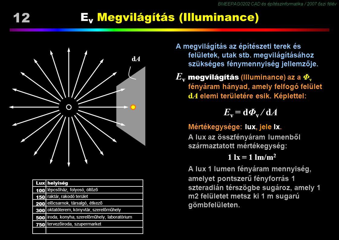 BMEEPAG0202 CAD és építészinformatika / 2007 őszi félév 12 E v Megvilágítás (Illuminance) A megvilágítás az építészeti terek és felületek, utak stb. m