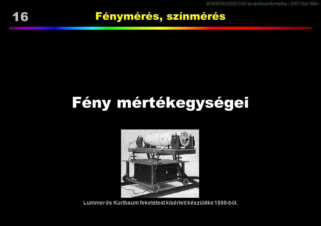 BMEEPAG0202 CAD és építészinformatika / 2007 őszi félév 16 Fénymérés, színmérés Fény mértékegységei Lummer és Kurlbaum feketetest kísérleti készüléke