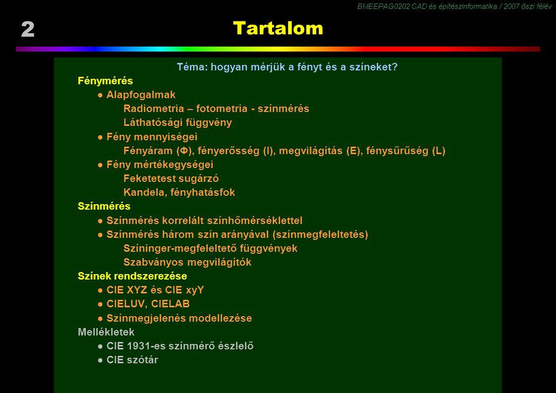 BMEEPAG0202 CAD és építészinformatika / 2007 őszi félév 2 Tartalom Téma: hogyan mérjük a fényt és a színeket? Fénymérés ● Alapfogalmak Radiometria – f
