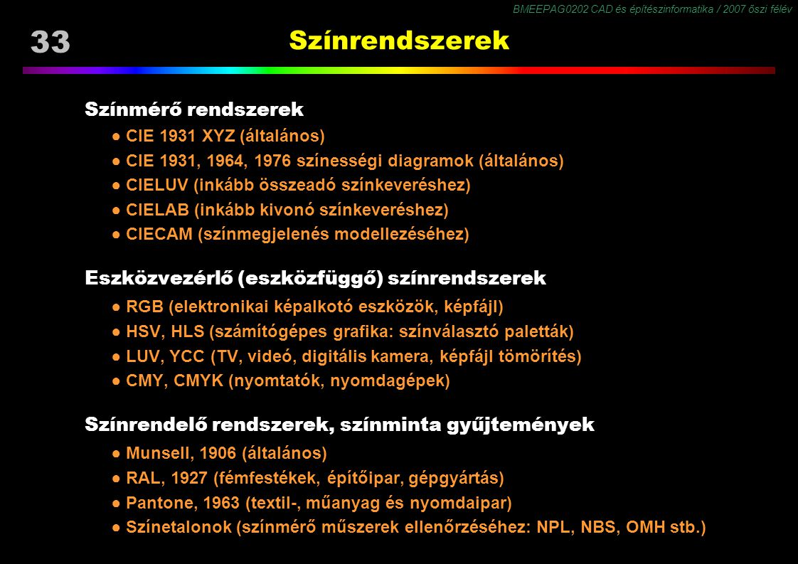 BMEEPAG0202 CAD és építészinformatika / 2007 őszi félév 33 Színrendszerek Színmérő rendszerek ● CIE 1931 XYZ (általános) ● CIE 1931, 1964, 1976 színes