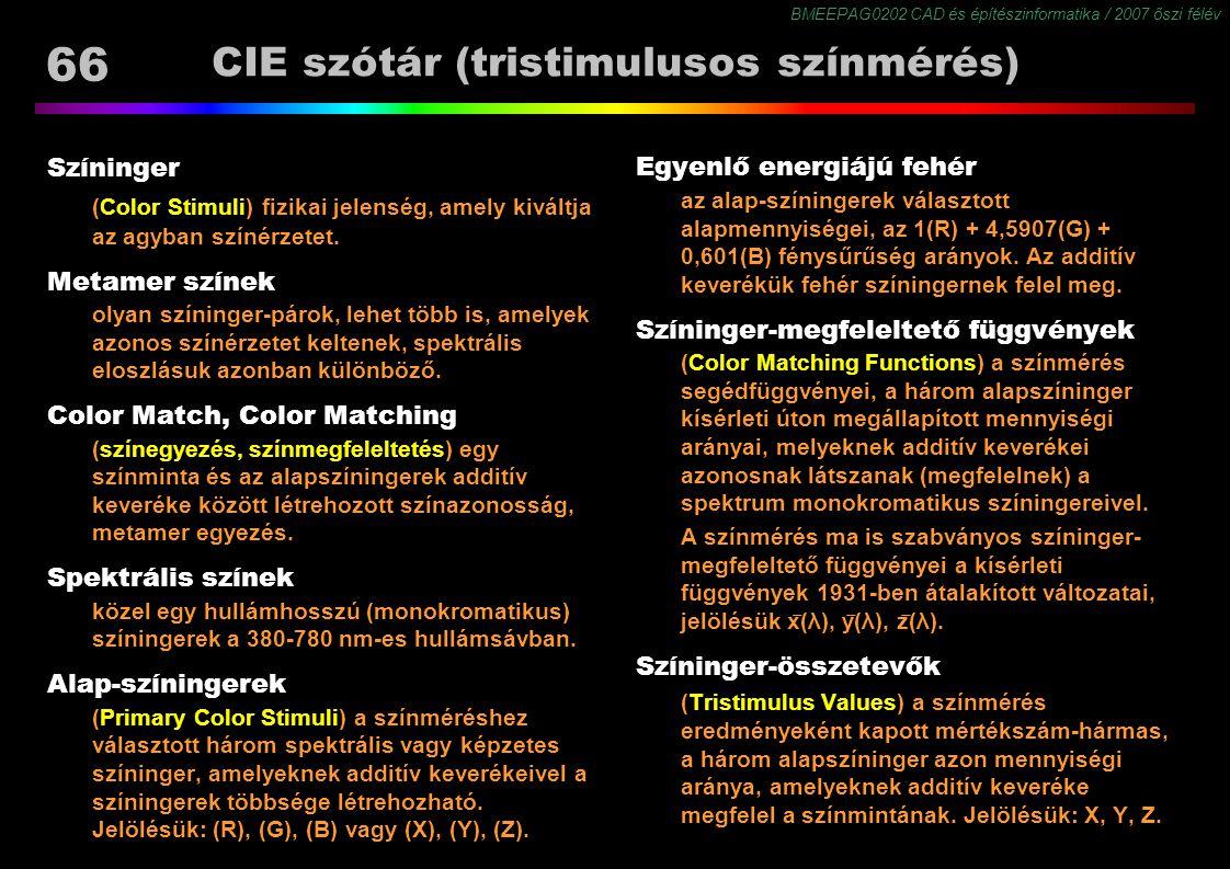 BMEEPAG0202 CAD és építészinformatika / 2007 őszi félév 66 CIE szótár (tristimulusos színmérés) Színinger (Color Stimuli) fizikai jelenség, amely kivá