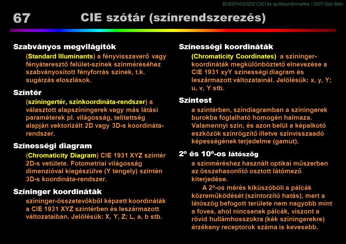 BMEEPAG0202 CAD és építészinformatika / 2007 őszi félév 67 CIE szótár (színrendszerezés) Szabványos megvilágítók (Standard Illuminants) a fényvisszave