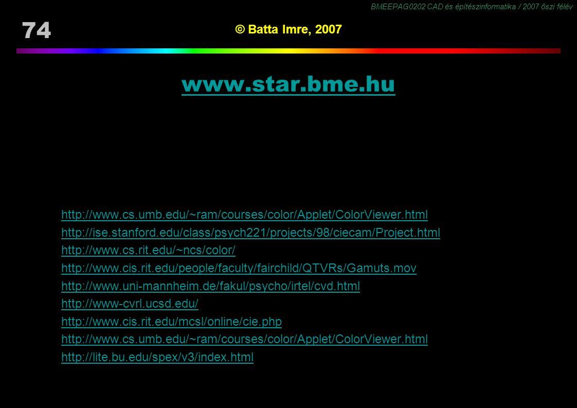 BMEEPAG0202 CAD és építészinformatika / 2007 őszi félév 74 © Batta Imre, 2007 www.star.bme.hu http://www.cs.umb.edu/~ram/courses/color/Applet/ColorVie