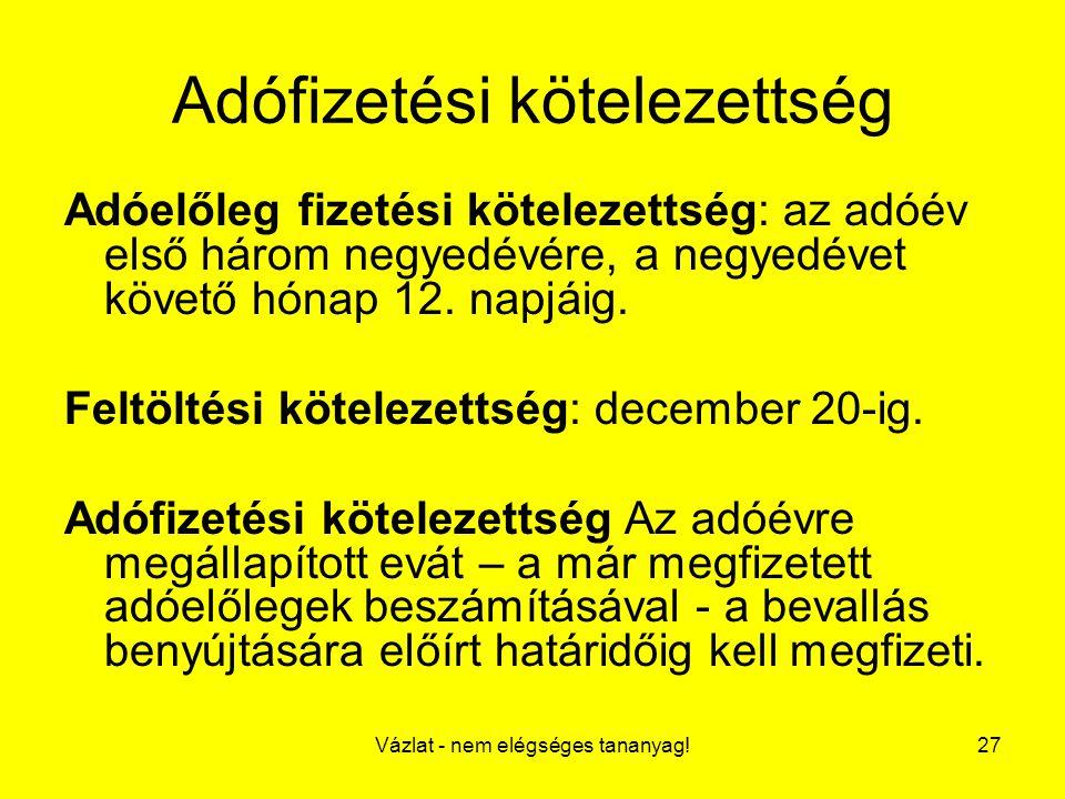 Vázlat - nem elégséges tananyag!27 Adófizetési kötelezettség Adóelőleg fizetési kötelezettség: az adóév első három negyedévére, a negyedévet követő hó