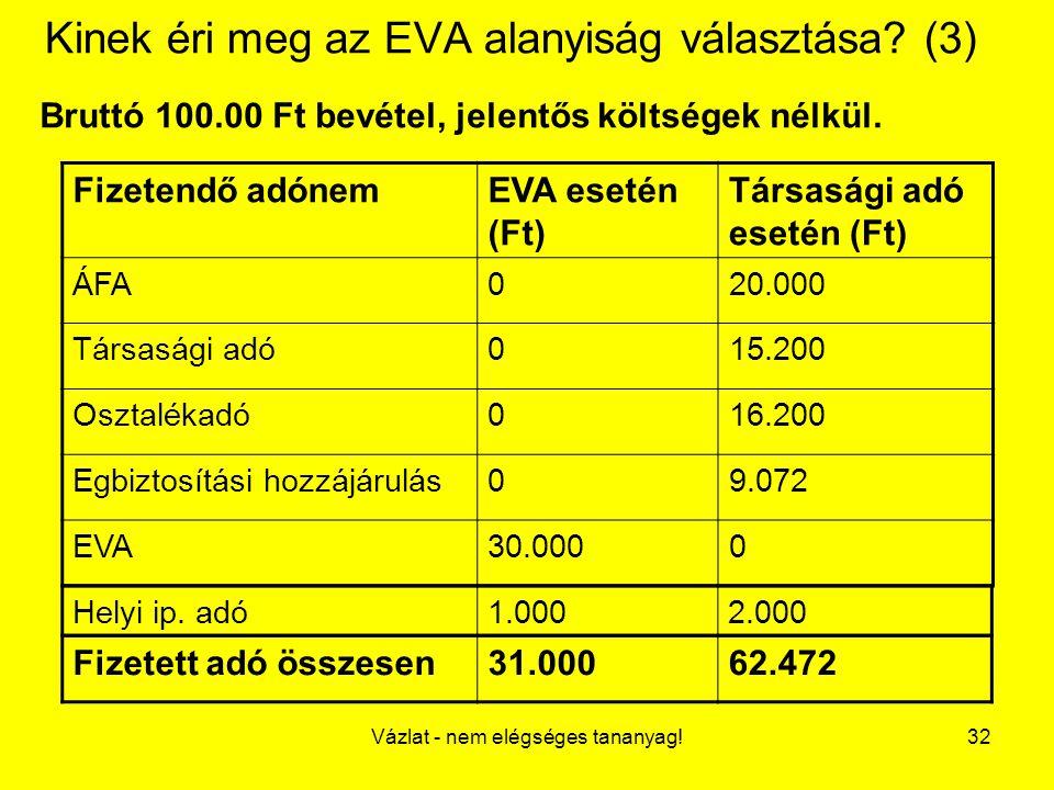 Vázlat - nem elégséges tananyag!32 Kinek éri meg az EVA alanyiság választása? (3) Bruttó 100.00 Ft bevétel, jelentős költségek nélkül. Fizetendő adóne