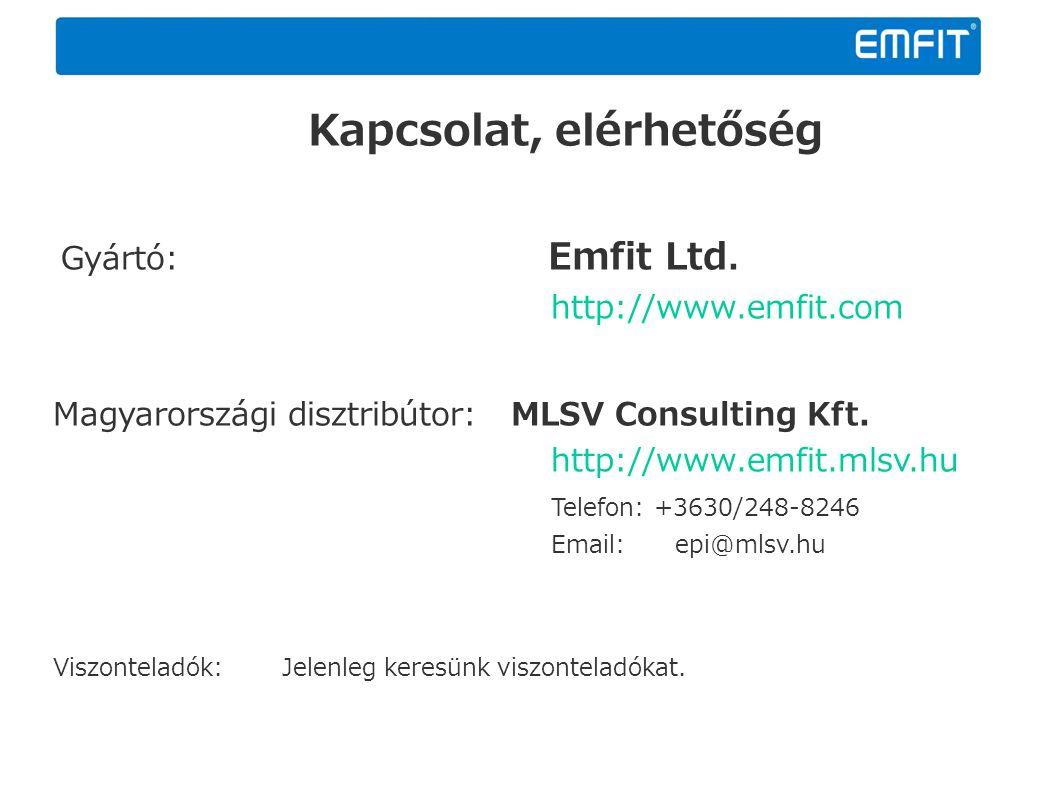 Kapcsolat, elérhetőség Gyártó: Emfit Ltd. http://www.emfit.com Magyarországi disztribútor: MLSV Consulting Kft. http://www.emfit.mlsv.hu Telefon: +363