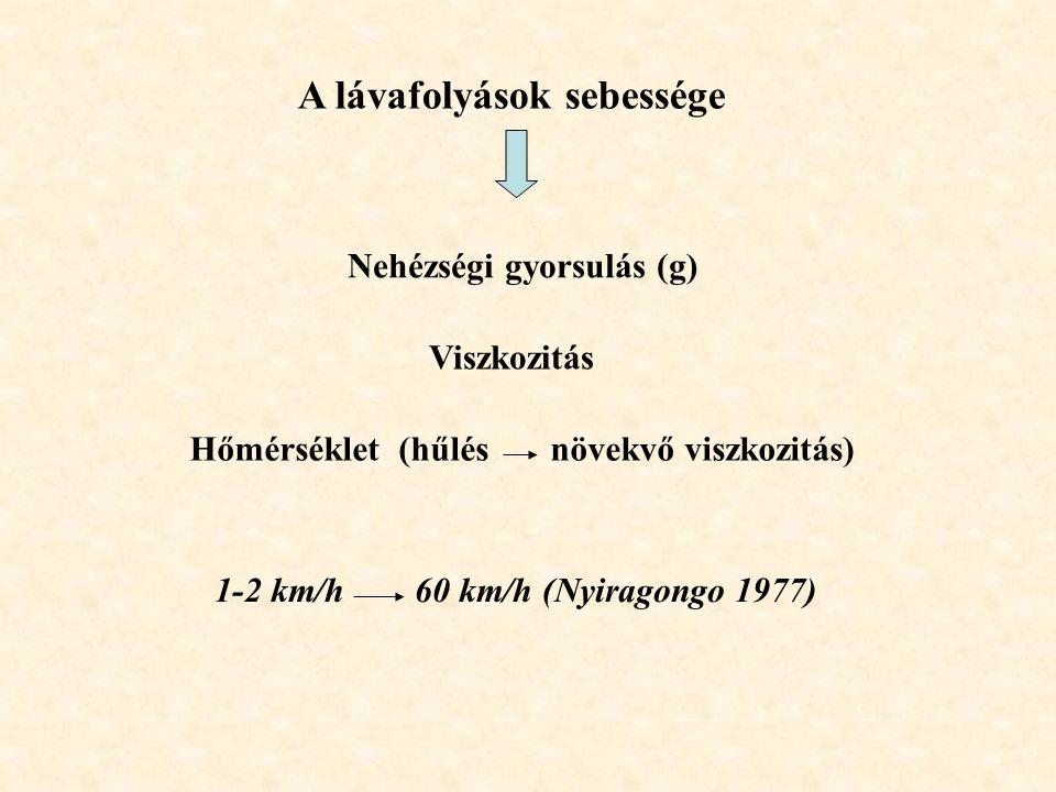 A lávafolyások sebessége Nehézségi gyorsulás (g) Viszkozitás Hőmérséklet (hűlés növekvő viszkozitás) 1-2 km/h 60 km/h (Nyiragongo 1977)