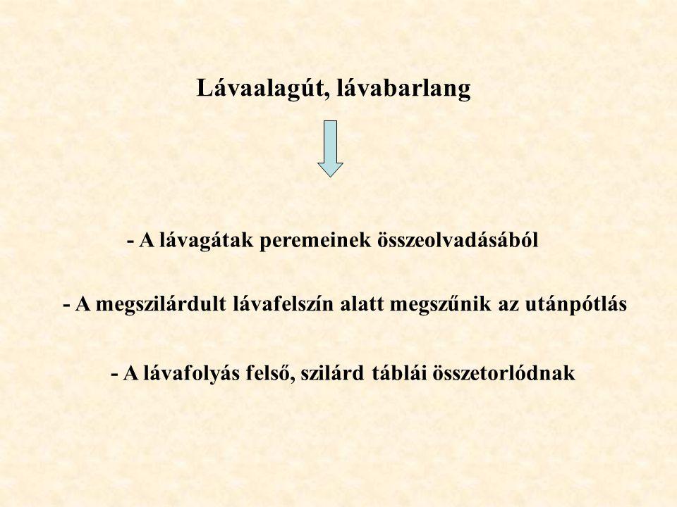 Lávaalagút, lávabarlang - A lávagátak peremeinek összeolvadásából - A megszilárdult lávafelszín alatt megszűnik az utánpótlás - A lávafolyás felső, sz