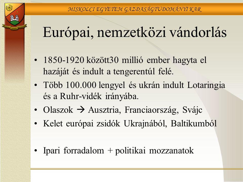 MISKOLCI EGYETEM GAZDASÁGTUDOMÁNYI KAR Európai, nemzetközi vándorlás 1850-1920 között30 millió ember hagyta el hazáját és indult a tengerentúl felé.
