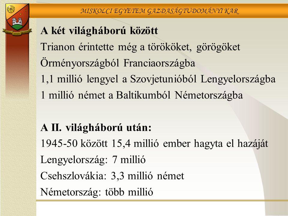 MISKOLCI EGYETEM GAZDASÁGTUDOMÁNYI KAR A két világháború között Trianon érintette még a törököket, görögöket Örményországból Franciaországba 1,1 millió lengyel a Szovjetunióból Lengyelországba 1 millió német a Baltikumból Németországba A II.