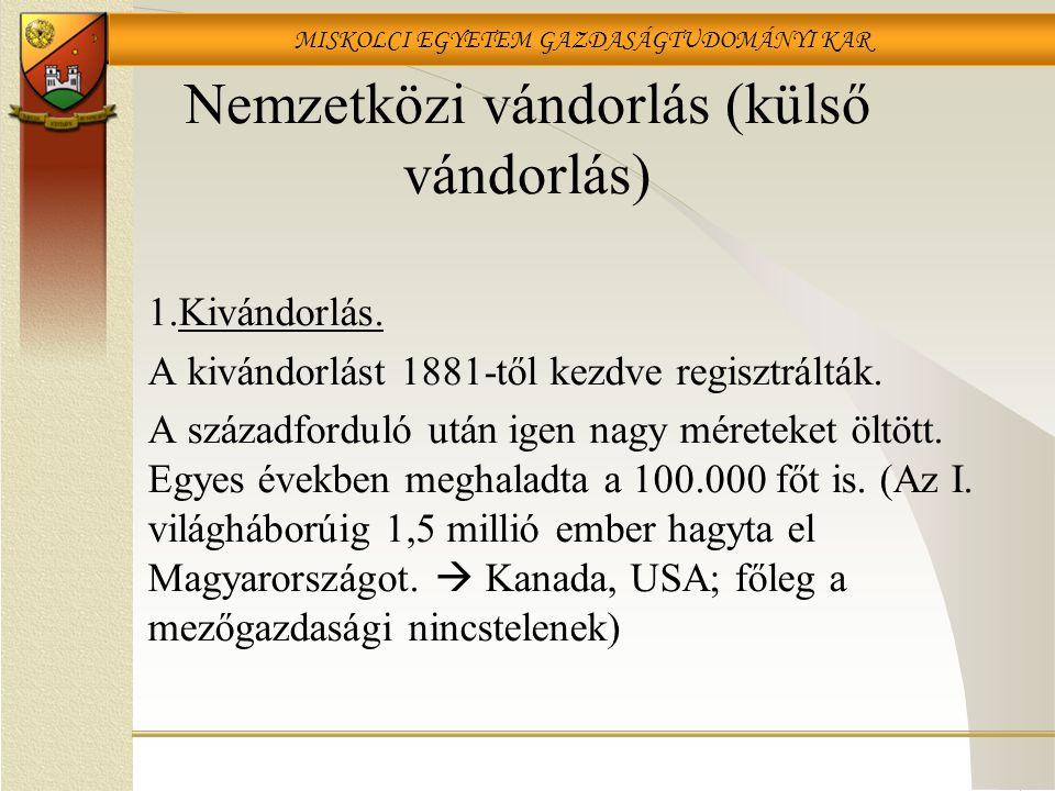 MISKOLCI EGYETEM GAZDASÁGTUDOMÁNYI KAR Nemzetközi vándorlás (külső vándorlás) 1.Kivándorlás.