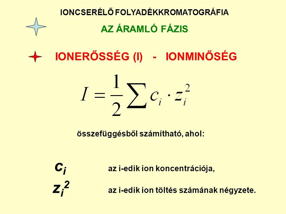 IONCSERÉLŐ FOLYADÉKKROMATOGRÁFIA AZ ÁRAMLÓ FÁZIS IONERŐSSÉG (I) - IONMINŐSÉG összefüggésből számítható, ahol: c i az i-edik ion koncentrációja, z i 2