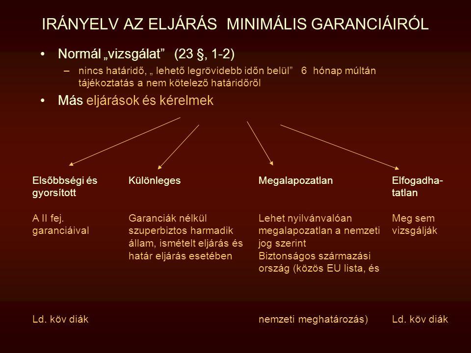 """IRÁNYELV AZ ELJÁRÁS MINIMÁLIS GARANCIÁIRÓL Normál """"vizsgálat"""" (23 §, 1-2) –nincs határidő, """" lehető legrövidebb időn belül"""" 6 hónap múltán tájékoztatá"""