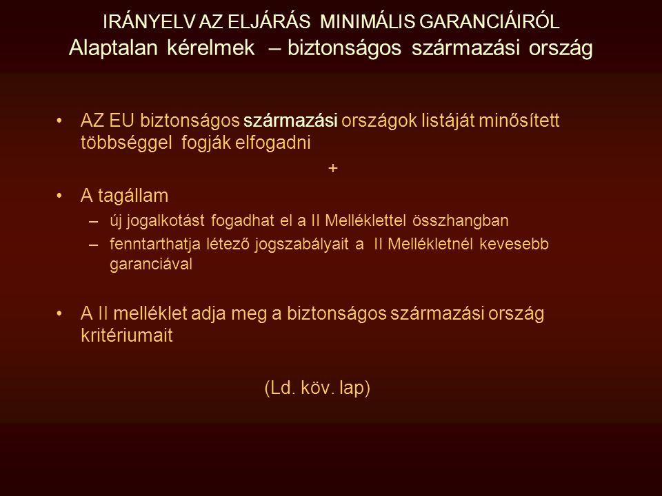 IRÁNYELV AZ ELJÁRÁS MINIMÁLIS GARANCIÁIRÓL Alaptalan kérelmek – biztonságos származási ország AZ EU biztonságos származási országok listáját minősítet