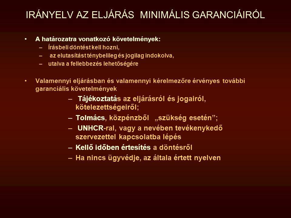 IRÁNYELV AZ ELJÁRÁS MINIMÁLIS GARANCIÁIRÓL A határozatra vonatkozó követelmények: –Írásbeli döntést kell hozni, – az elutasítást ténybelileg és jogila