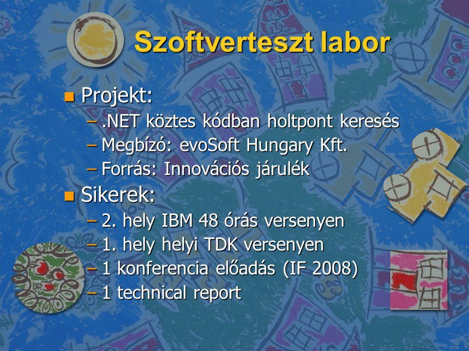 Szoftverteszt labor n Projekt: –.NET köztes kódban holtpont keresés –Megbízó: evoSoft Hungary Kft.