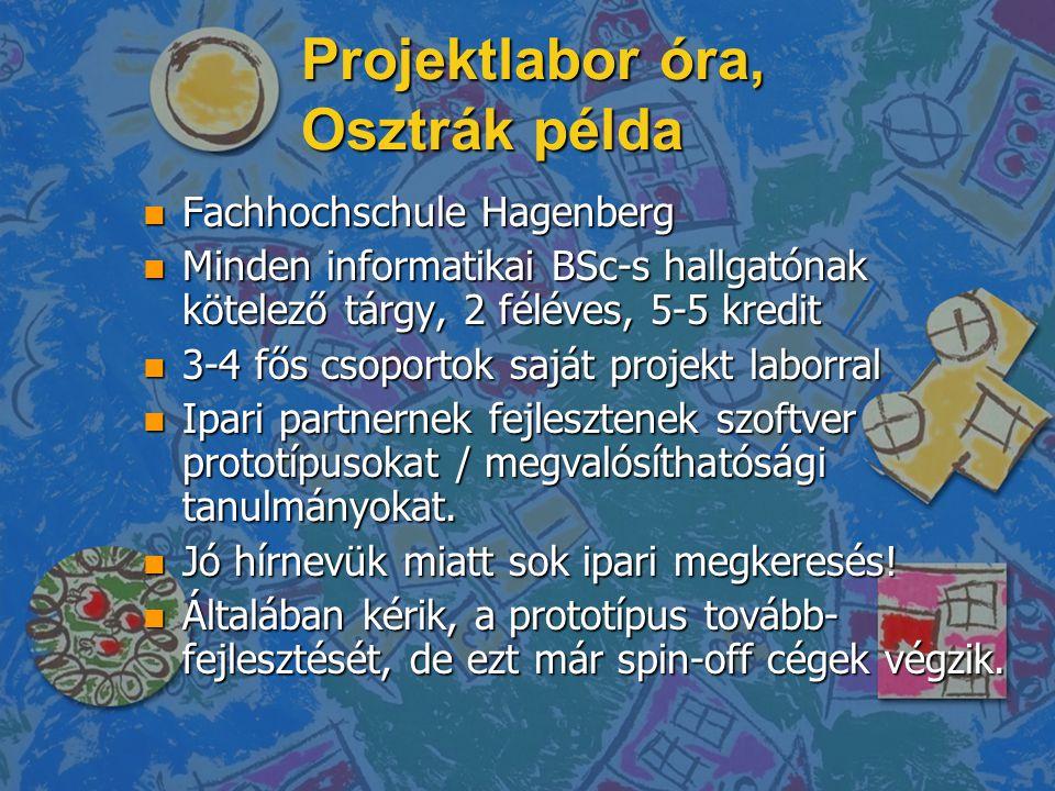 Projektlabor óra, Osztrák példa n Fachhochschule Hagenberg n Minden informatikai BSc-s hallgatónak kötelező tárgy, 2 féléves, 5-5 kredit n 3-4 fős csoportok saját projekt laborral n Ipari partnernek fejlesztenek szoftver prototípusokat / megvalósíthatósági tanulmányokat.