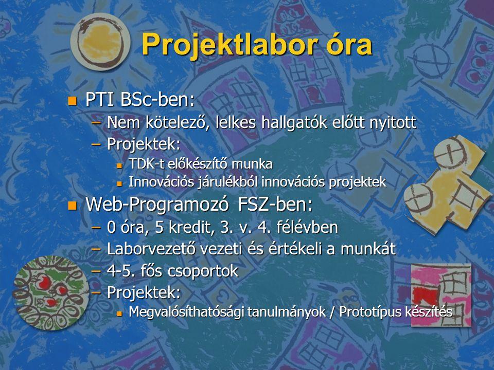 Projektlabor óra n PTI BSc-ben: –Nem kötelező, lelkes hallgatók előtt nyitott –Projektek: n TDK-t előkészítő munka n Innovációs járulékból innovációs projektek n Web-Programozó FSZ-ben: –0 óra, 5 kredit, 3.