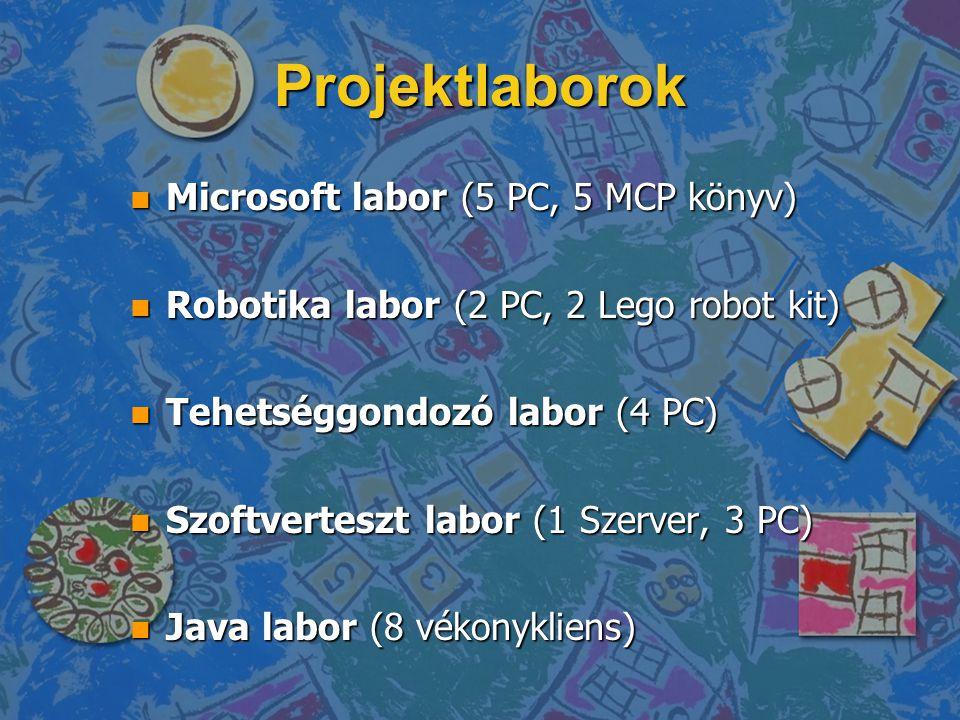 Projektlaborok n Microsoft labor (5 PC, 5 MCP könyv) n Robotika labor (2 PC, 2 Lego robot kit) n Tehetséggondozó labor (4 PC) n Szoftverteszt labor (1 Szerver, 3 PC) n Java labor (8 vékonykliens)
