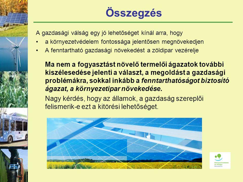 Összegzés A gazdasági válság egy jó lehetőséget kínál arra, hogy a környezetvédelem fontossága jelentősen megnövekedjen A fenntartható gazdasági növekedést a zöldipar vezérelje Ma nem a fogyasztást növelő termelői ágazatok további kiszélesedése jelenti a választ, a megoldást a gazdasági problémákra, sokkal inkább a fenntarthatóságot biztosító ágazat, a környezetipar növekedése.
