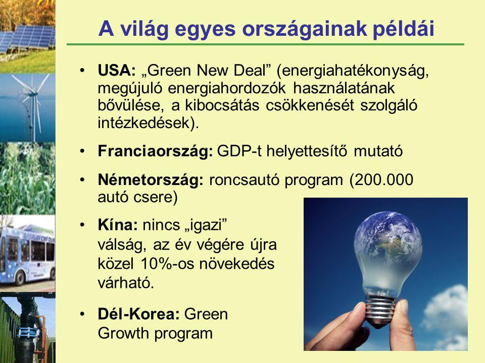 """A világ egyes országainak példái USA: """"Green New Deal (energiahatékonyság, megújuló energiahordozók használatának bővülése, a kibocsátás csökkenését szolgáló intézkedések)."""