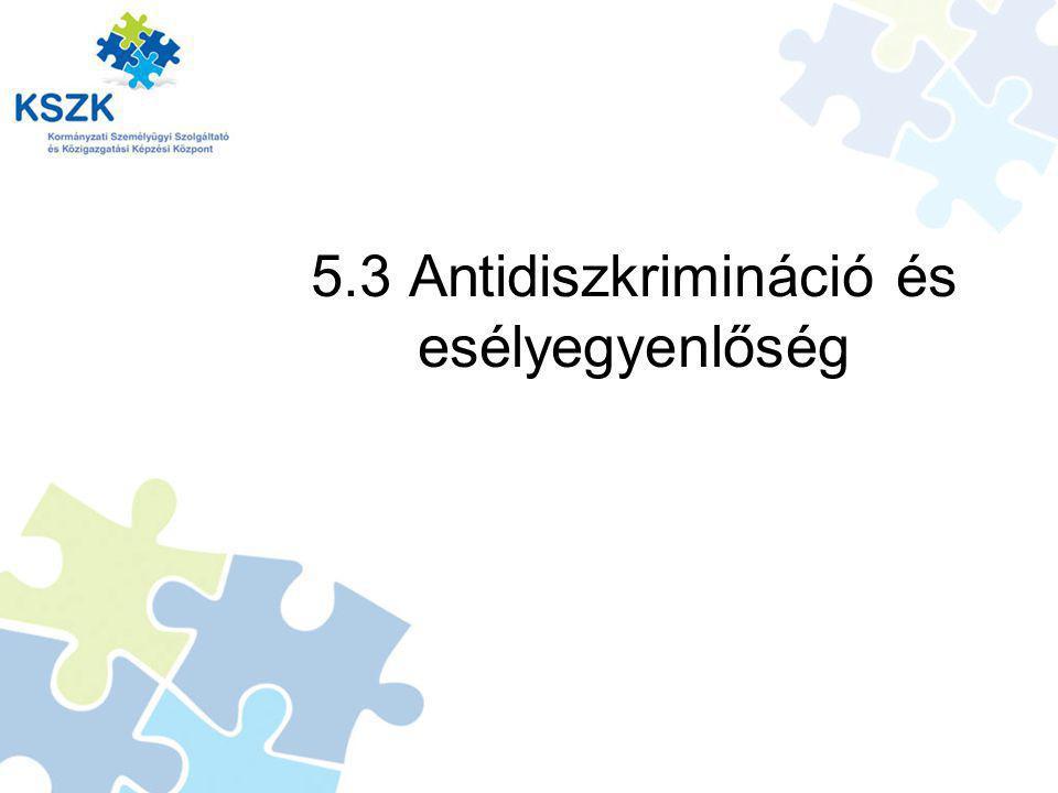 5.3 Antidiszkrimináció és esélyegyenlőség