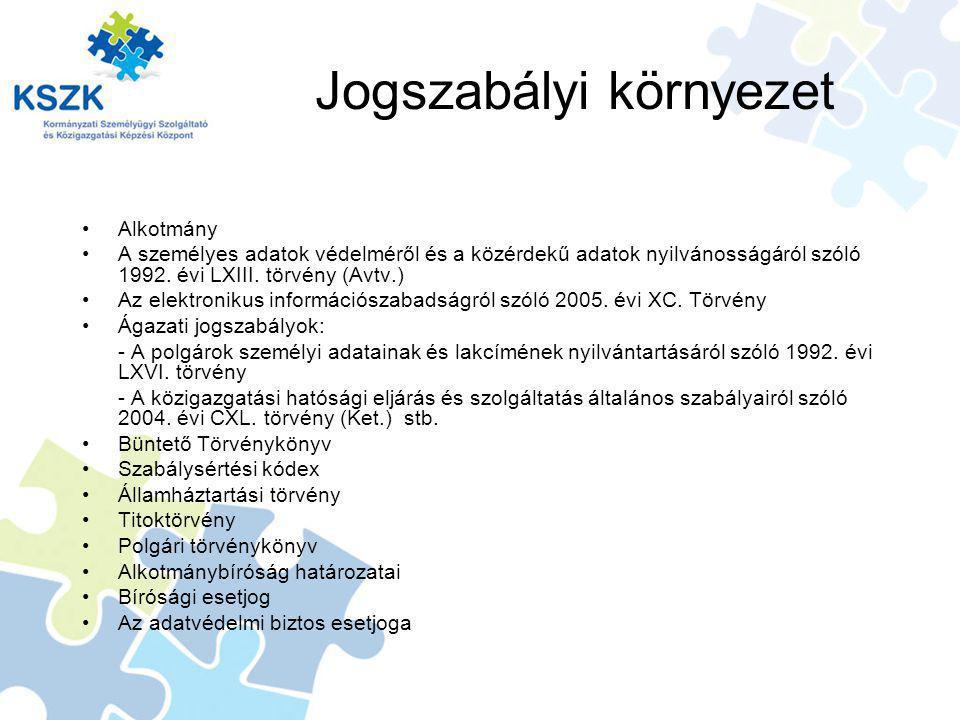 Jogszabályi környezet Alkotmány A személyes adatok védelméről és a közérdekű adatok nyilvánosságáról szóló 1992.
