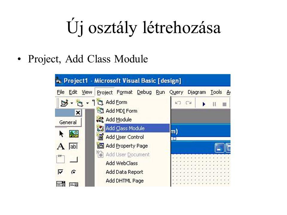 Új osztály létrehozása Project, Add Class Module