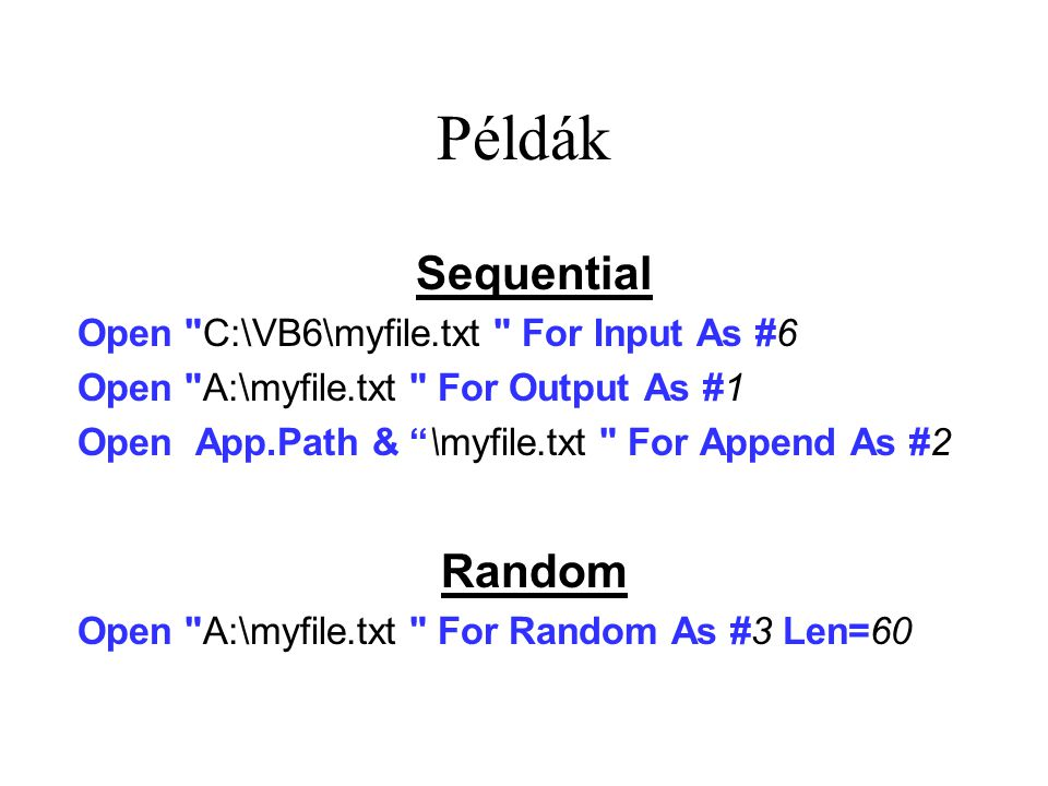 Példák Sequential Open