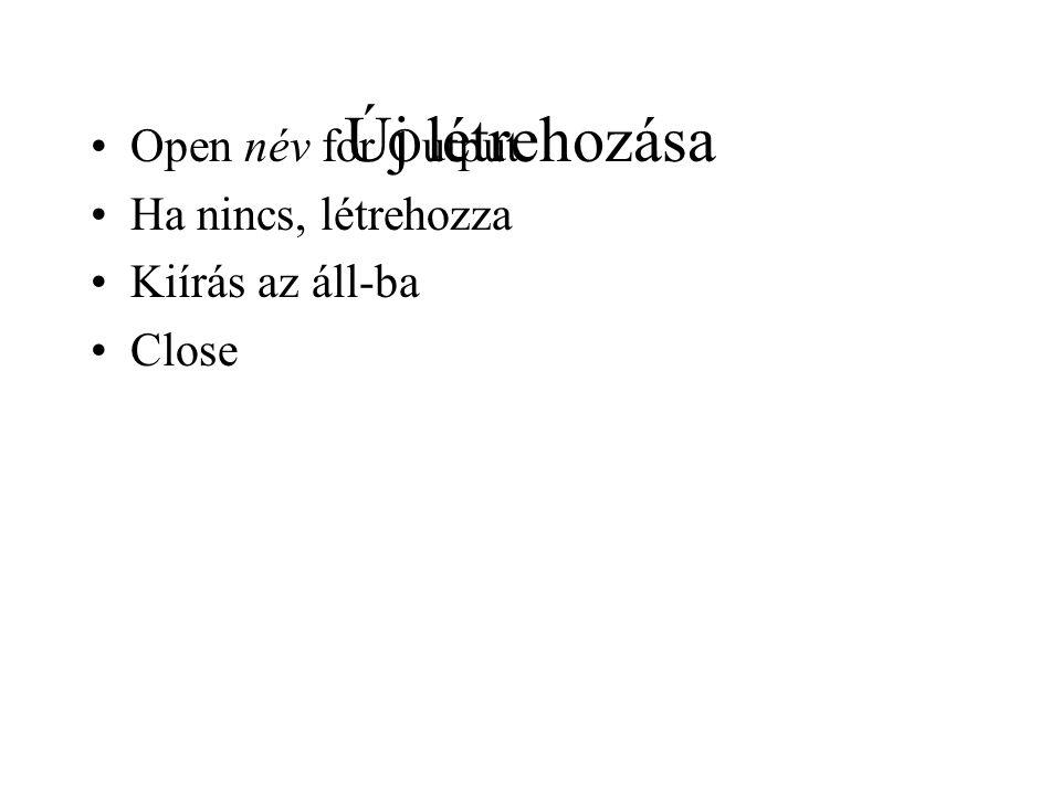 Új létrehozása Open név for Output Ha nincs, létrehozza Kiírás az áll-ba Close
