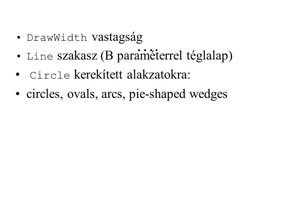 …. DrawWidth vastagság Line szakasz (B paraméterrel téglalap) Circle kerekített alakzatokra: circles, ovals, arcs, pie-shaped wedges