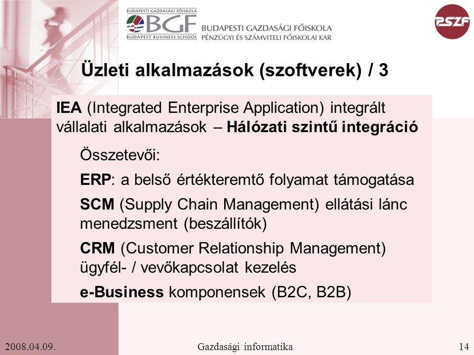 14Gazdasági informatika2008.04.09. IEA (Integrated Enterprise Application) integrált vállalati alkalmazások – Hálózati szintű integráció Összetevői: E