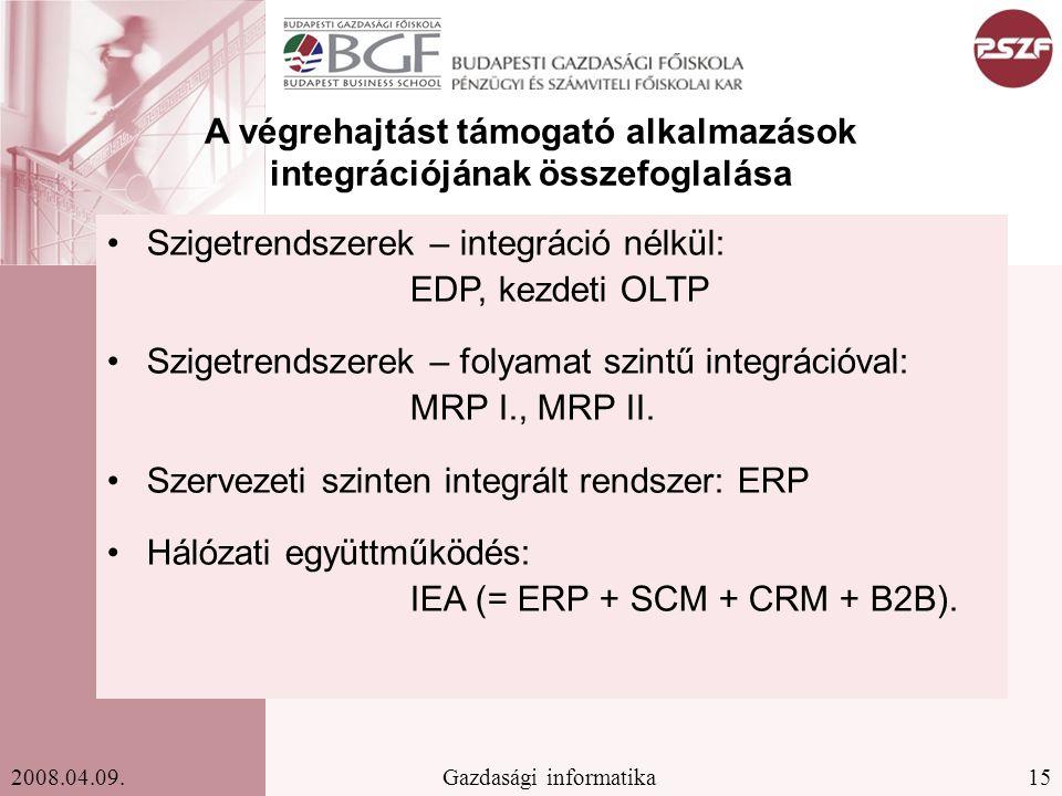 15Gazdasági informatika2008.04.09. A végrehajtást támogató alkalmazások integrációjának összefoglalása Szigetrendszerek – integráció nélkül: EDP, kezd