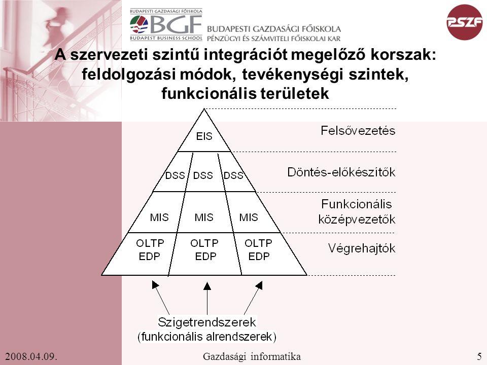 5Gazdasági informatika2008.04.09. A szervezeti szintű integrációt megelőző korszak: feldolgozási módok, tevékenységi szintek, funkcionális területek