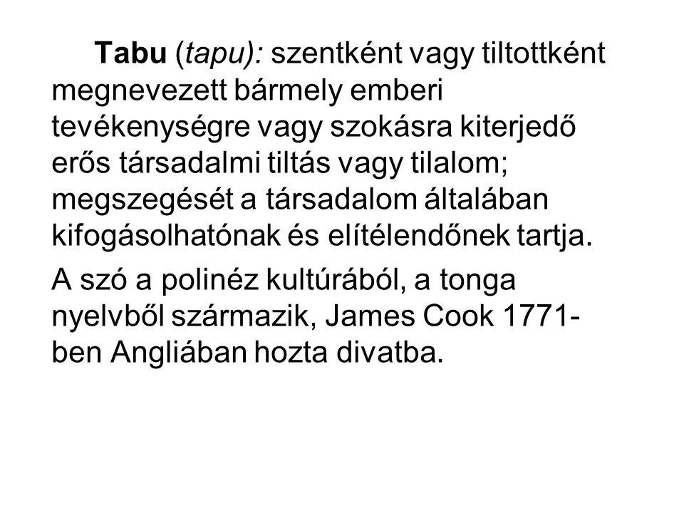 Tabu (tapu): szentként vagy tiltottként megnevezett bármely emberi tevékenységre vagy szokásra kiterjedő erős társadalmi tiltás vagy tilalom; megszegé